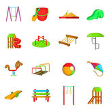 Playground icons set, cartoon style Stock Image