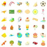 Playground icons set, cartoon style. Playground icons set. Cartoon style of 36 playground vector icons for web isolated on white background Royalty Free Stock Images