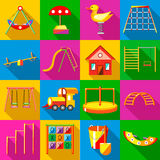 Playground icons set, flat style Royalty Free Stock Image