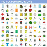 100 playground icons set, flat style. 100 playground icons set in flat style for any design vector illustration Royalty Free Stock Photography