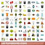 100 playground icons set, flat style. 100 playground icons set in flat style for any design vector illustration Royalty Free Stock Images