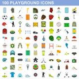 100 playground icons set, flat style. 100 playground icons set in flat style for any design illustration stock illustration