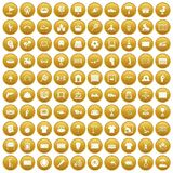 100 playground icons set gold. 100 playground icons set in gold circle isolated on white vector illustration Royalty Free Stock Photography