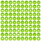 100 playground icons set green. 100 playground icons set in green circle isolated on white vectr illustration vector illustration