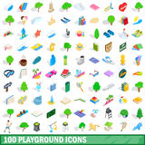 100 playground icons set, isometric 3d style. 100 playground icons set in isometric 3d style for any design vector illustration Royalty Free Stock Photos