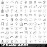 100 playground icons set, outline style Stock Photo