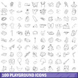 100 playground icons set, outline style Stock Photography