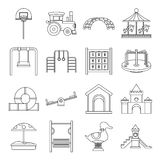 Playground icons set, outline style Royalty Free Stock Images