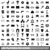 100 playground icons set, simple style. 100 playground icons set in simple style for any design vector illustration Royalty Free Stock Images
