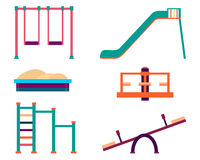 Playground icons set. Slide and swing  on white background. Vector illustration Stock Photography