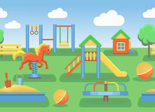 Playground illustration horizontal seamless vector Stock Image