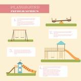 Playground infographic elements  flat illustration.Kids playing equipment infographics set Royalty Free Stock Photos