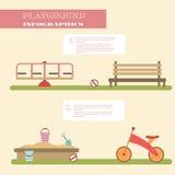 Playground infographic elements  flat illustration.Kids playing equipment infographics set Royalty Free Stock Image