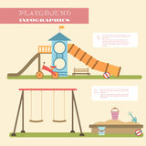Playground infographic elements  flat illustration.Kids playing equipment infographics set Stock Photo