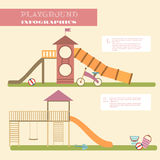 Playground infographic elements  flat illustration.Kids playing equipment infographics set Royalty Free Stock Photography