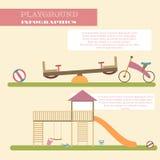 Playground infographic elements  flat illustration.Kids playing equipment infographics set Stock Photo