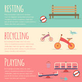 Playground infographic elements  flat illustration.Kids playing equipment infographics set Stock Image