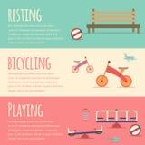 Playground infographic elements  flat illustration.Kids playing equipment infographics set Stock Image