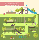 Playground infographic elements  flat illustration.Kids playing equipment infographics set Stock Images
