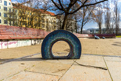 Playground installations in a park Stock Image