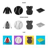 Playground, jacket, ball, protective vest. Baseball set collection icons in black, flat, monochrome style vector symbol. Stock illustration Stock Image