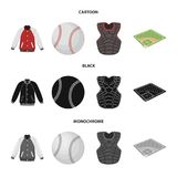 Playground, jacket, ball, protective vest. Baseball set collection icons in cartoon,black,monochrome style vector symbol. Stock illustration Royalty Free Stock Photo