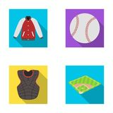 Playground, jacket, ball, protective vest. Baseball set collection icons in flat style vector symbol stock illustration Royalty Free Stock Image