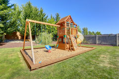 Playground for kids on backyard Royalty Free Stock Photography