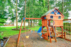 Playground for kids. Backyard view Stock Photo