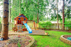 Playground for kids. Backyard view Stock Image