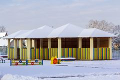 Playground in kindergarten for children in winter with snow cove Stock Photography