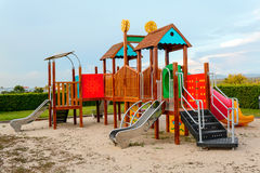 Playground and lawn with blue sky Stock Images