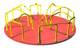 Playground merry go round image. This raster is playground merry go round yellow and red colors with isolated object and empty space in white color background Royalty Free Stock Photos