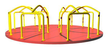 Playground merry go round. This raster is playground merry go round in yellow and red color in white color background and isolated object Royalty Free Stock Photos
