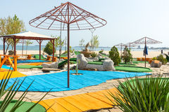A playground for mini golf at the Sunny Beach resort in Bulgaria Royalty Free Stock Image