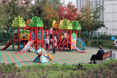 Playground in moscower district. At autumn Stock Photos