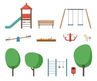 Playground outdoor equipment. Flat icons set of equipment children playground Stock Photo