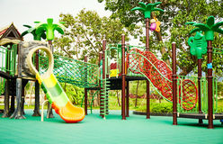 Playground. Outdoor kids playground with colorful play equipment in children park stock photography