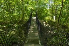 Playground, outdoor park with suspension bridge stock photo
