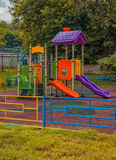 Playground in park. Empty Playground in park in he fail Royalty Free Stock Photo