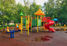 Playground in park. Empty Playground in park after a rain Royalty Free Stock Photos