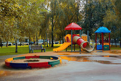 Playground in park. Empty Playground in park after a rain Stock Photography