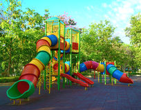 Playground  in the park. Playground  equipment in the park Royalty Free Stock Photo