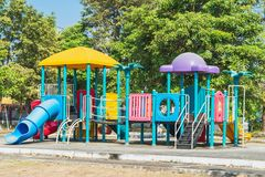 Playground in the park. With green tree background royalty free stock images