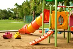 Playground at the park. In the morning time Royalty Free Stock Images