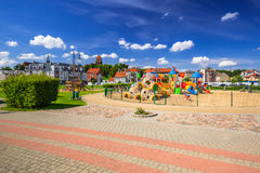 Playground park on riverbanks of Vistula river in Tczew Stock Image