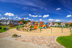 Playground park on riverbanks of Vistula river in Tczew Royalty Free Stock Photography