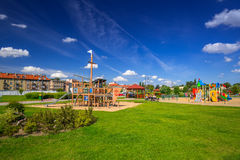 Playground park on riverbanks of Vistula river in Tczew Stock Images