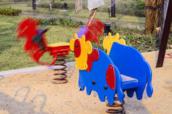 Playground at the park : spring toy. Empty children playground at the park : spring toy Royalty Free Stock Images