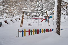 Winter landscape. Winter, snow and playground in the park Stock Image